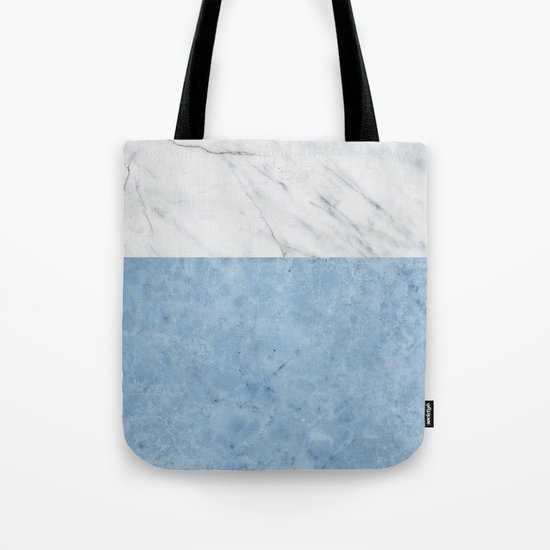 Porcelain blue and white marble Tote Bag