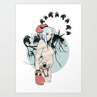 boxer Art Prints featuring boxer by Natasha Aldred