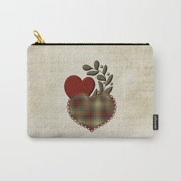 Red & Green Plaid Heart Love Letter Carry-All Pouch