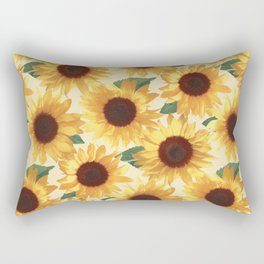 Happy Yellow Sunflowers Rectangular Pillow