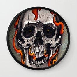 Skull in Flames Wall Clock
