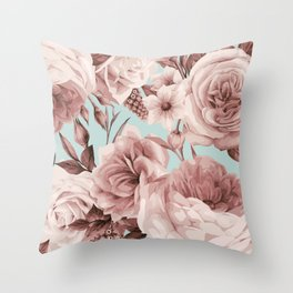 SEPIA ROSES ON GREEN Throw Pillow
