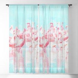Flamingos tropical illustration Sheer Curtain
