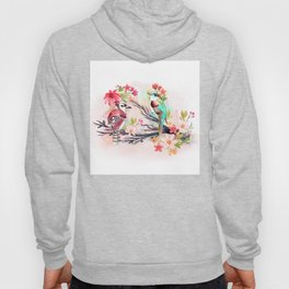 Watercolor birds with flowers Hoody