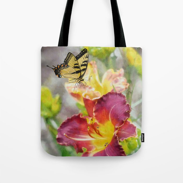 Butterfly On Lily Tote Bag