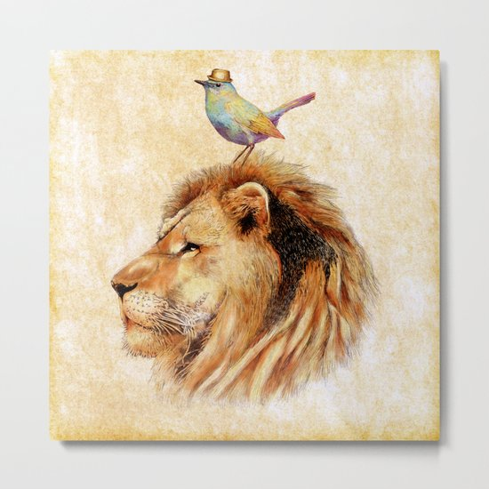 Lion&Bird Metal Print