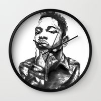 kendrick lamar Wall Clocks featuring Kendrick Lamar Lithograph by Drewnelz