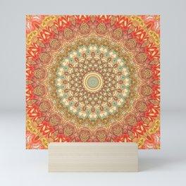 Kaleidoscope Mandala - Orange, Gold, Green Mini Art Print