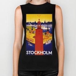 Vintage Stockholm Sweden Travel Biker Tank