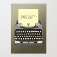 typewriter Canvas Prints featuring Typewriter by AdamSteve