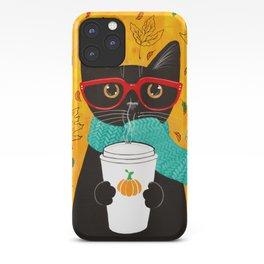 Autumn Black Coffee Cat iPhone Case