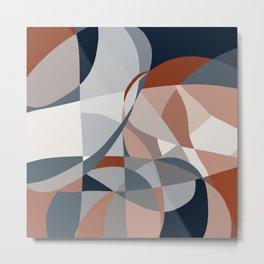 Navy and Rust (XIV) Abstract Metal Print