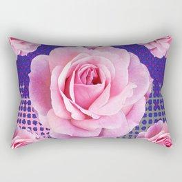 SHABBY CHIC PINK GARDEN ROSES PURPLE ART Rectangular Pillow