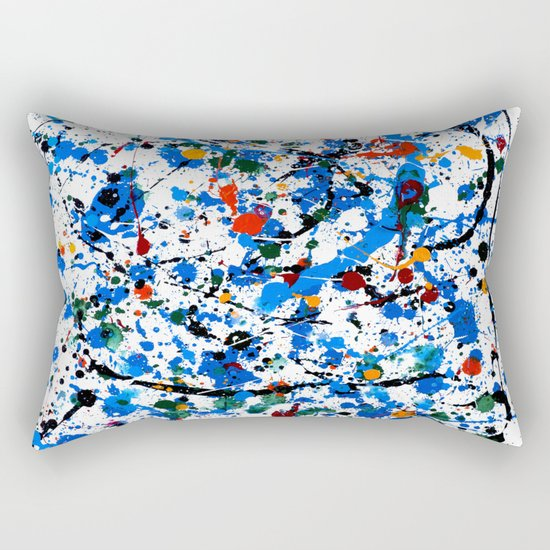 Abstract #23 - Frenzy in Blue Rectangular Pillow
