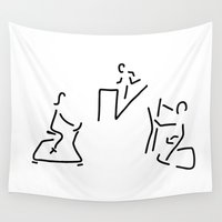fitness Wall Tapestries featuring fitness hometrainer crosstrainer sport by Lineamentum