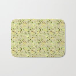 Greenish floral pattern . Bath Mat