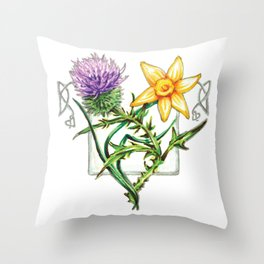 Thistle and Daffodil Throw Pillow