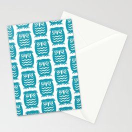 Mid Century Owl Pattern Turquoise Stationery Cards