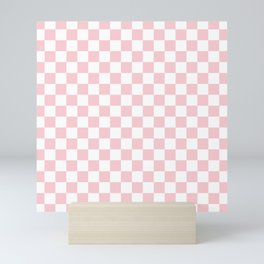 Large White and Light Millennial Pink Pastel Color Checkerboard Mini Art Print