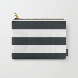Dark gunmetal - solid color - white stripes pattern Carry-All Pouch