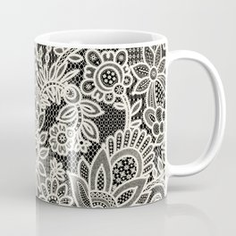 Lace on black background Coffee Mug