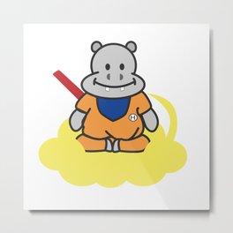 Hippo Goku with Nimbus Metal Print