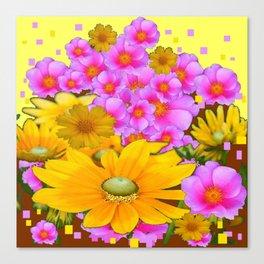 MODERN RAZZLE-DAZZLE PINK-YELLOW FLORALS Canvas Print