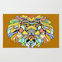 metallic Area & Throw Rugs featuring Metallic Lion by J&C Creations