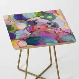 Blooms - Alochol Ink Painting Side Table