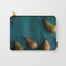 Pears on rustic wooden board Carry-All Pouch