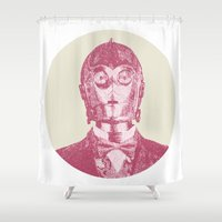 c3po Shower Curtains featuring C3PO by NJ-Illustrations
