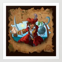 pirate Art Prints featuring Pirate by scottpratherpaints