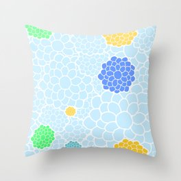 Chrysanthemums in soft pastel blue color shades Throw Pillow
