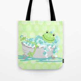 Frog in BathTub Kids Shower Bathroom Art Tote Bag