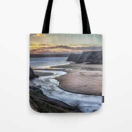 Evening at Three Cliffs Bay Gower Tote Bag