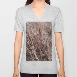 dry brown grass field texture abstract background Unisex V-Neck
