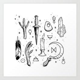 Accoutrements - white Art Print