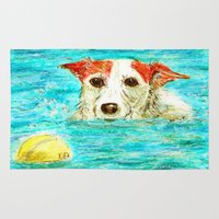 jack russell Area & Throw Rugs featuring Jack Russell Terrier by gretzky