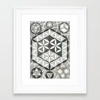 sacred geometry Framed Art Prints featuring Sacred by Brandon Leung