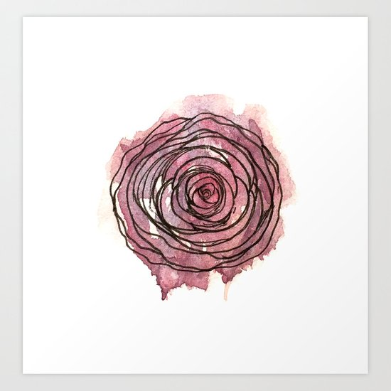 english pen rose by clarekellyillustrator