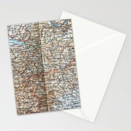 Where Italy, France & Switzerland meet, 1900 map Stationery Cards