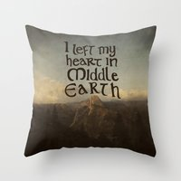 middle earth Throw Pillows featuring I Left My Heart in Middle Earth by Leah Flores