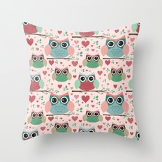 Owls in Love Pattern Throw Pillow