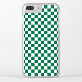 White and Cadmium Green Checkerboard Clear iPhone Case