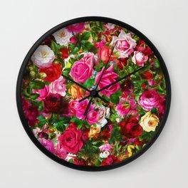 Elegant Vintage Floral Rose Garden Blossom Wall Clock