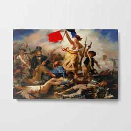 Eugene Delacroix (French, 1798-1863) - Title: Liberty Leading the People (La Liberté Guidant le Peuple) - Date: 1830 - Style: Romanticism - Genre: History & Symbolic painting - Media: Oil - Digitally Enhanced Version (1500dpi) - Metal Print