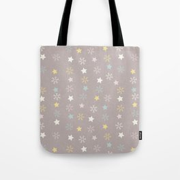 Pastel brown pink yellow Christmas snow flakes stars pattern Tote Bag