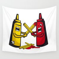 fries Wall Tapestries featuring Fries wars by pludadesign