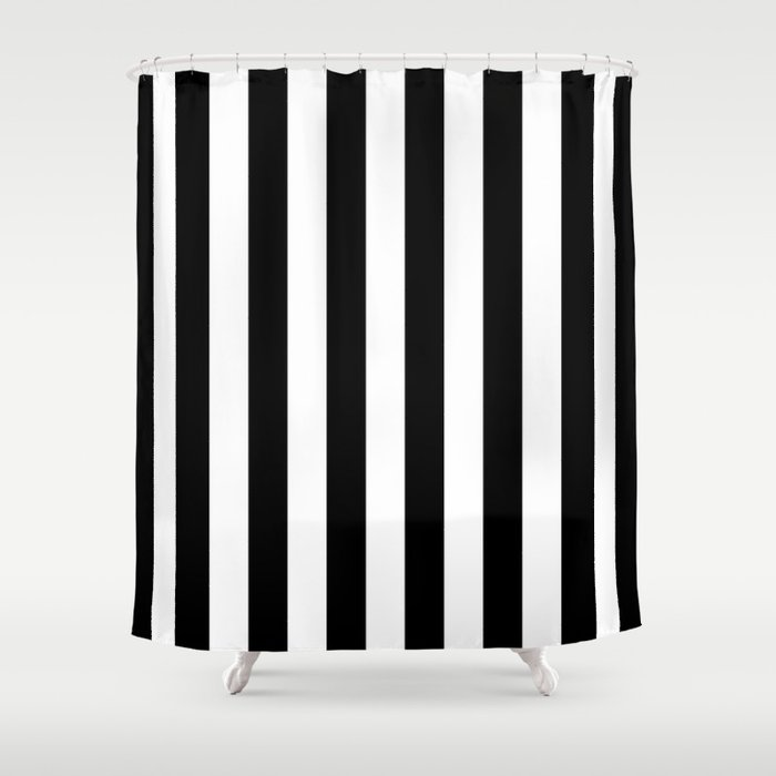Parisian Black White Stripes Vertical Shower Curtain