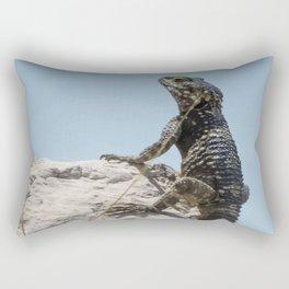Lizard Sunbathing On A Rock Vector Rectangular Pillow